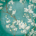 White Cherry Blossoms II on Blue Aged No