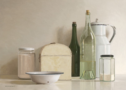 2 jars, 2 bottles, jug, tin box and bowl