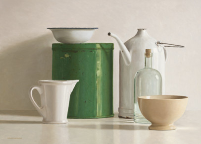 Green tin box, bottle, 2 jugs and 2 bowl