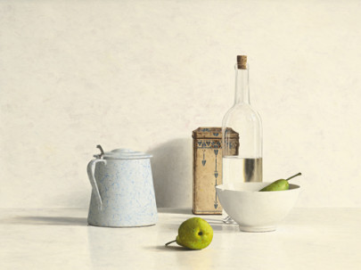 Two Pears, Bottle, Can and Jug