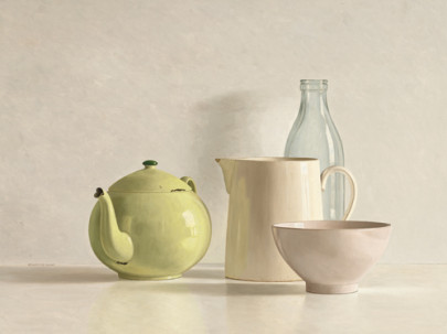 Yellow Teapot, Bottle, Bowl and Jug