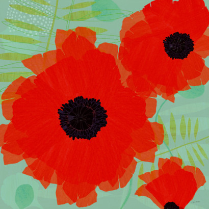 Collection of Poppies on Blue