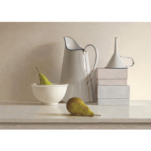 2 pears, 2 boxes, jug, bowl and funnel
